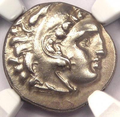 Alexander the Great III AR Drachm Coin 336 BC - NGC AU - Rare - 5/5 Strike!