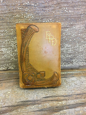 vintage leather playing card case leather monogrammed playing card holder EPD