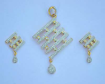 Gold Plated Pendant Earrings Jewelry Ethnic Cubic CZ Indian Bollywood Fashion