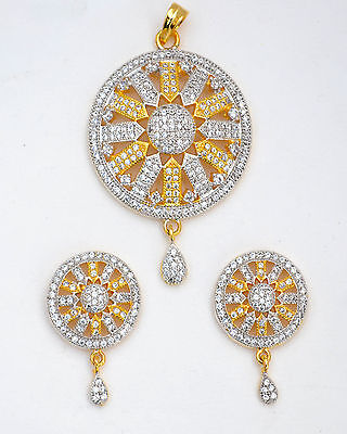 Gold Plated Pendant Earrings Ethnic Cubic CZ Indian Fashion Bollywood Jewelry