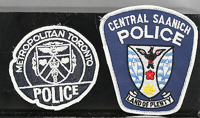 Obsolete Canada Metropolitan Toronto & Central Saanich Police Shoulder Patches