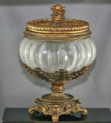 Very Beautiful Rococo Style European Cut Glass Lidded Footed Compote Vintage