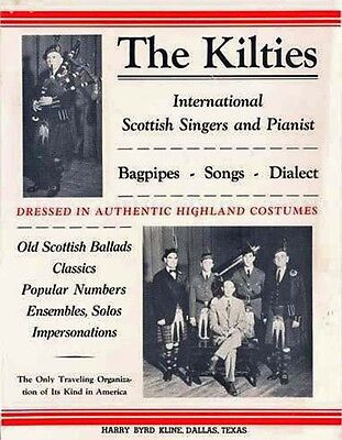 1940 Adv FLYER Poster THE KILTIES bagpipes SCOTTISH songs singers pianist piano