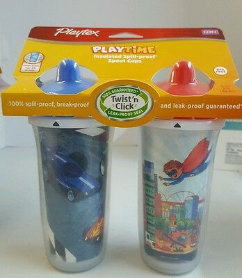 Playtex 2 Count 9 oz Spill Proof Infant Toddler Baby Spout Sippy Training Cup