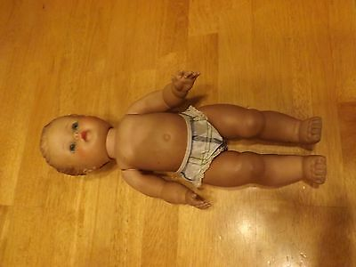 "Vintage 1950's  13"" Jointed AMER CHAR DOLL in original diaper, rubber hair GOOD"