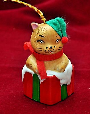 """Vintage Hand-Painted Bisque Porcelain Kitten Bell Ornament by Giftco, INC ~ 3"""""""