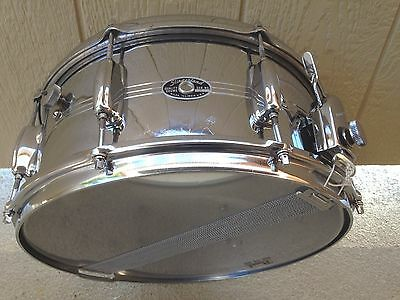 "Vintage Slingerland 6.5X14"" 8 Lug Chrome Over Brass Sound King Snare Drum, Nice"