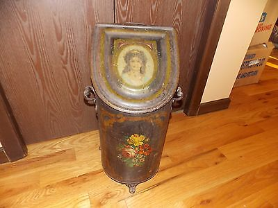 Antique Coal Hod Scuttle Victorian Lady and Flowers Hand Painted with Insert