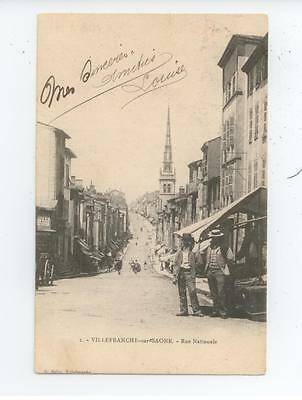 Cpa 190? Rhone Villefranche Sur Saone Anime Rue Nationale Be Tbe