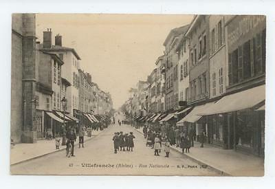 Cpa Rhone Villefranche Sur Saone Anime Rue Nationale Enfants Be Tbe