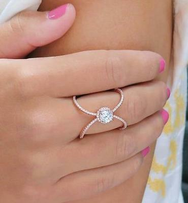 NEW 14K Rose Gold Plated Sterling Silver Pave Halo X Ring size 8 $150