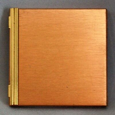 Vintage VOLUPTE COMPACT Gold / Copper Never Used w/Label Powder Cosmetic Case