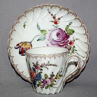 Antique Vintage Hand Painted DRESDEN CARL THIEME DEMITASSE CUP & SAUCER SET