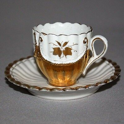 Antique Vintage DEMITASSE Germany GOLD & WHITE TEA CUP & SAUCER SET