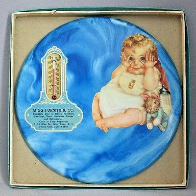 """1937 Antique Vintage ADVERTISING THERMOMETER Peek a Boo BABY CHILD Plaster 7.5"""""""