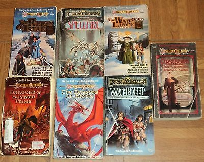 """DRAGON LANCE & FORGOTTEN REALMS """"FANTASY"""" PAPERBACK COLLECTION - Lot of 7"""