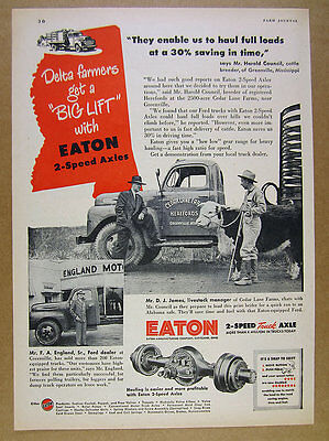 1949 Greenville MS Hereford Cattle Farm ford truck Eaton Axles vintage print Ad
