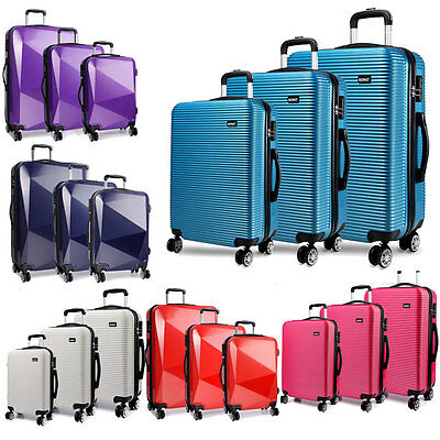 KONO Suitcase Lightweight  PC Luggage Trolley Case 4 Wheel Spinner Hardshell