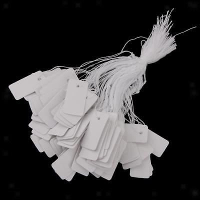 500 White String Paper Price Tags Jewelry Watch Cloth Display Hang Label #10