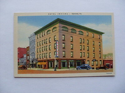 Linen HOTEL INDIANA & GRILL in Indiana Pennsylvania PA unused Postcard y5784