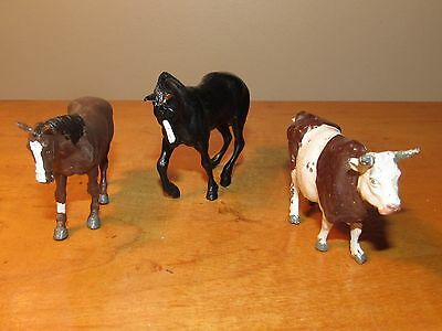 Vintage Britains Cow & 2 Horses - Free US Shipping!