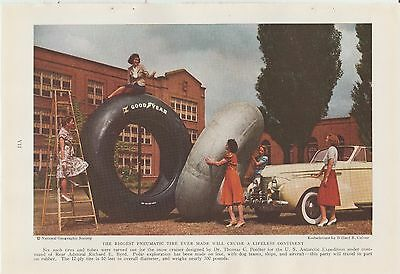 1940's Good Year Tires Ad 10 Foot Tire Women Cars