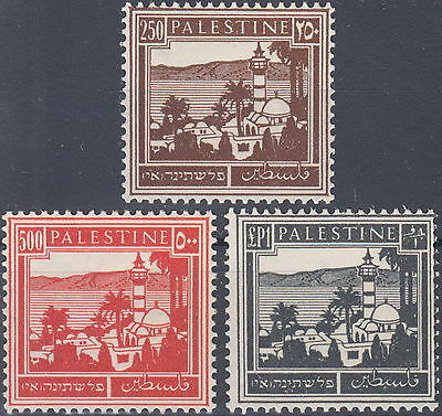 Palestine 1931, Sea of Galilee last 3 values up to 1 GBP, mint never hinged **