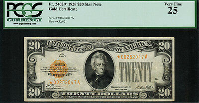 1928 $20 Gold Certificate FR-2402* - Star Note - Graded PCGS 25 - Very Fine
