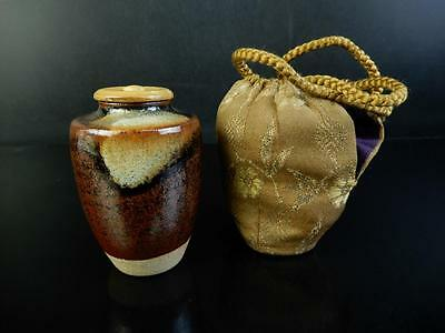 F311: Japanese Seto-ware Brown glaze TEA CADDY Chaire Container Tea Ceremony