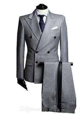 Light Gray Men Business Suits Double Breasted Wedding Groom Groomsmen Tuxedos 10