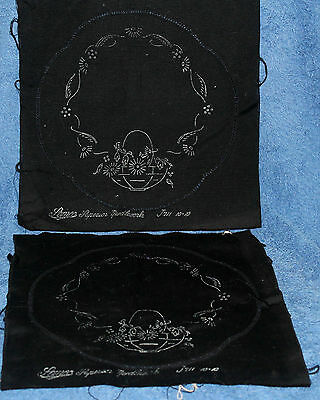 2 X Vintage Un-Worked Semco Black Doilies-Just Need Embroidering-Very Unusual