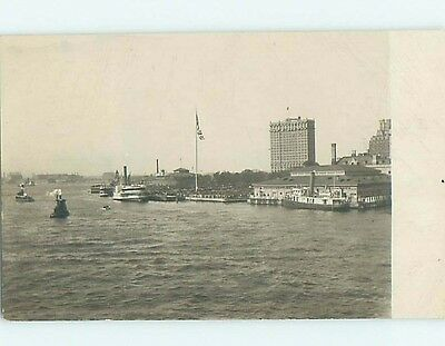 1909 rppc BOATS AND BUILDINGS ON SHORELINE Postmarked Schenectady NY HM2507