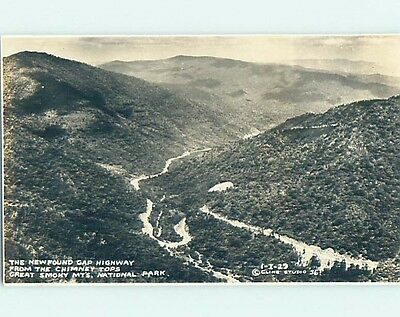 Pre-1942 rppc NEWFOUND GAP - GREAT SMOKY MOUNTAINS PARK Gatlinburg TN HM2360