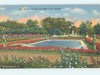 Unused Linen PARK SCENE Chicago Illinois IL hk6319