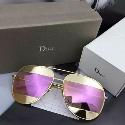 2017*NEW AUTHENTIC CHRISTIAN DIOR SPLIT sunglasses Gold FRAME Pink LENS