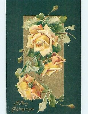 Pre-Linen christmas BEAUTIFUL DETAILED LARGE YELLOW ROSE FLOWERS HL0107