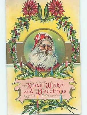 Pre-Linen christmas SANTA CLAUS IN MIDDLE OF HOLLY WREATH hk9358