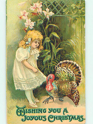 Pre-Linen christmas CUTE GIRL PLAYING WITH TURKEY BIRD HQ7045
