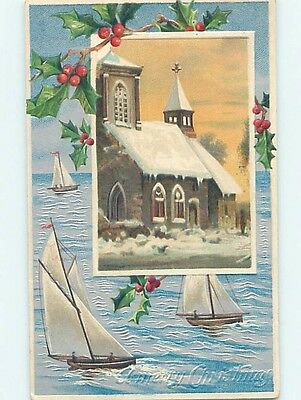 Pre-Linen christmas SNOW-COVERED CHURCH & SAILBOAT BOATS ON THE WATER HL0300