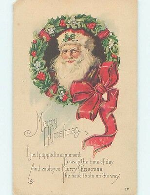 Chipped Pre-Linen christmas SANTA CLAUS IN HOLLY WREATH hk9226