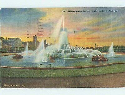 Damaged Linen BUCKINGHAM FOUNTAIN Chicago Illinois IL hk7299