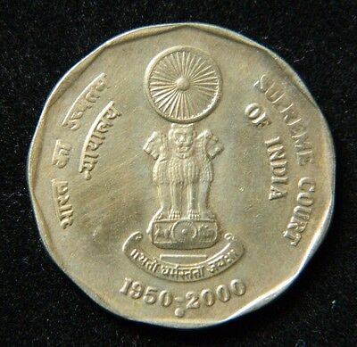 2000-N 2 Rupees Coin Supreme Court Of India Republic Unc M904 Km#291