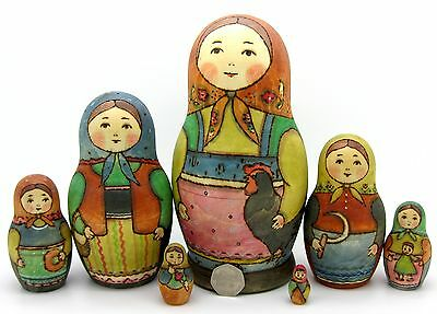 UNIQUE Russian stacking dolls 7 HAND PAINTED BIG Babushka Chicken RYABOVA signed
