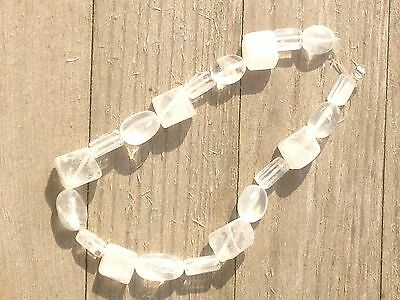 """2 x 8"""" Clear quartz crystal bead strands - rough tumbled and Cube beads"""