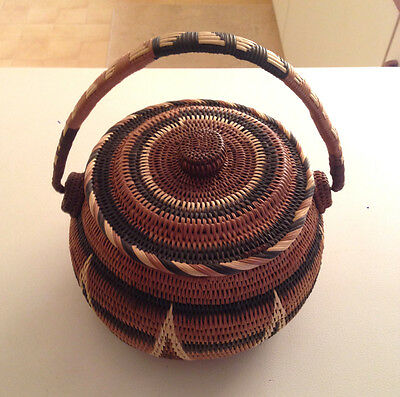 Vintage Papua New Guinea finely woven cane Buka lidded basket