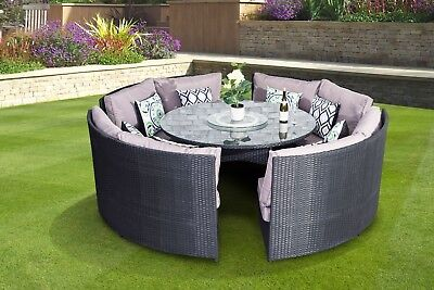 Conservatory Rattan Outdoor Garden Sofa 10 Seater Round Dining Table Set black