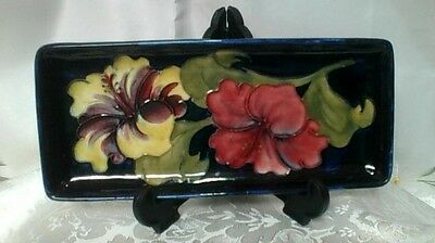 "MOORCROFT Pen Tray  ""Hibiscus"" Pattern  1st Quality"