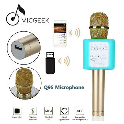 Original MicGeek Q9S Wireless Microphone Bluetooth KTV Karaoke For iPhone7/6S/SE