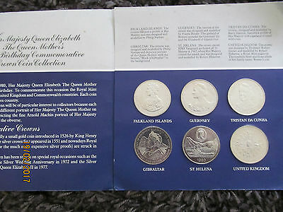1980 The Queen Mother 80th Birthday 6 Crown Set in Royal Mint Pack BU Coins