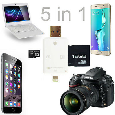 SD / Micro SD Card to iPhone iPad Samsung OTG Android Phones Reader USB Adapter